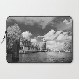 Montelbaan tower on the banks of canal Oudeschans in Amsterdam, Netherlands Laptop Sleeve