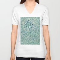 emerald V-neck T-shirts featuring Emerald Green, Navy & Cream Floral & Leaf doodle by micklyn