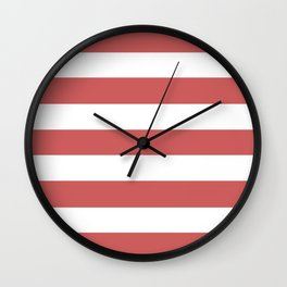 Indian red - solid color - white stripes pattern Wall Clock