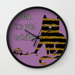 Baby its cold out there funny knitted striped Winter Cat Wall Clock