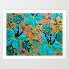 BLOOMING BEAUTIFUL 2 - Modern Abstract Acrylic Tropical Floral Painting, Home Decor Gift for Her Art Print