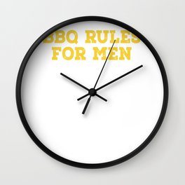 BBQ Rules For Men Wall Clock