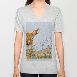 Deer in the Grassland Unisex V-Neck
