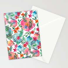 Whimsical Hexagon Garden on white Stationery Cards
