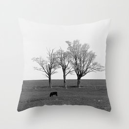 Three Trees and a Bull Throw Pillow