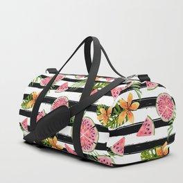 Watermelon black stripes Duffle Bag