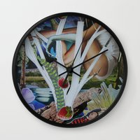 mythology Wall Clocks featuring Pyramus & Thisbe Collage Mythology Romeo and Juliet by FountainheadLtd