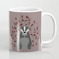 badger Mugs featuring Badger by Sophie Mitchell