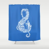 sound Shower Curtains featuring Sound of the Ocean by Enkel Dika