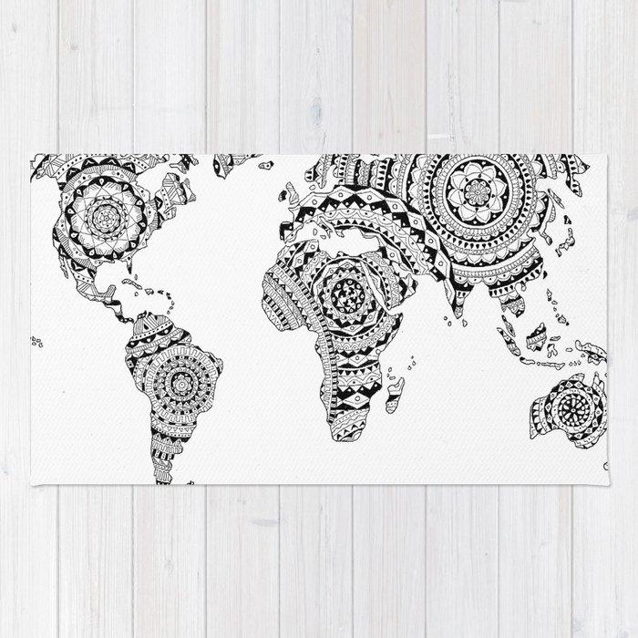 Mandala world map rug by noshortsupply society6 mandala world map rug gumiabroncs Images