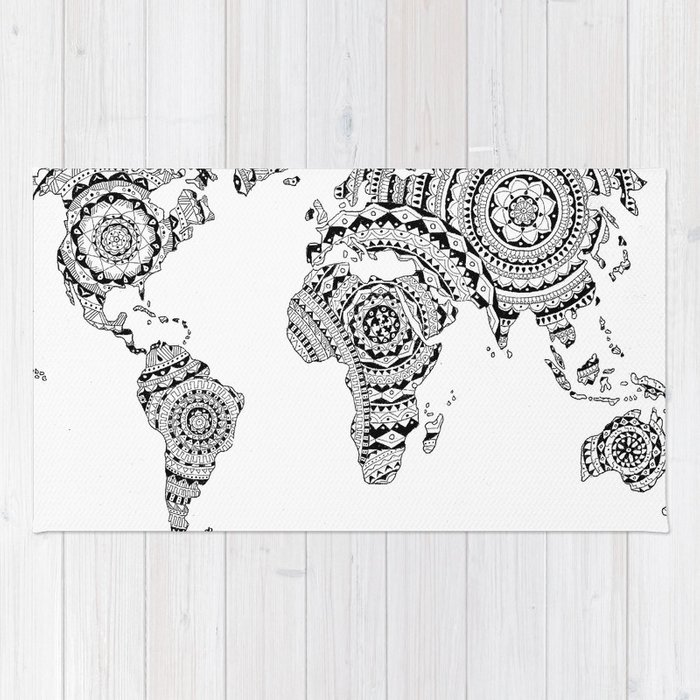 World Map Throw Rug: Mandala World Map Rug By Noshortsupply