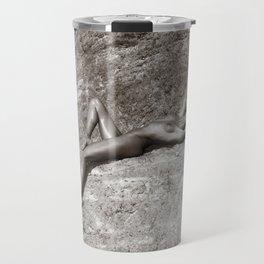 1741 Apache Trail Nude - Illusione Nuda ~ SurXposed Classic Bodyscape Boudoir Nude on Rocky Terrain Travel Mug