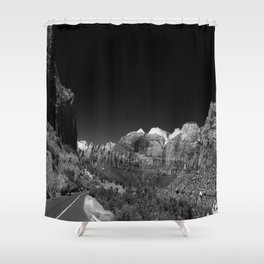 Zion Park View in B&W Shower Curtain