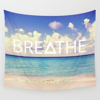 breathe Wall Tapestries featuring BREATHE by Good Sense