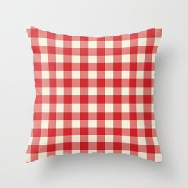 Buffalo Plaid Rustic Lumberjack Red and White Check Pattern Throw Pillow