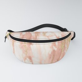 Rose Gold Marble - Rose Gold Yellow Gold Shimmery Metallic Marble Fanny Pack
