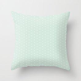 Vintage blush green white elegant chic polka dots pattern Throw Pillow