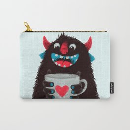 Demon with a cup of coffee (contrast) Carry-All Pouch