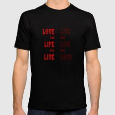 Love Life in Red Mens Fitted Tee Black MEDIUM