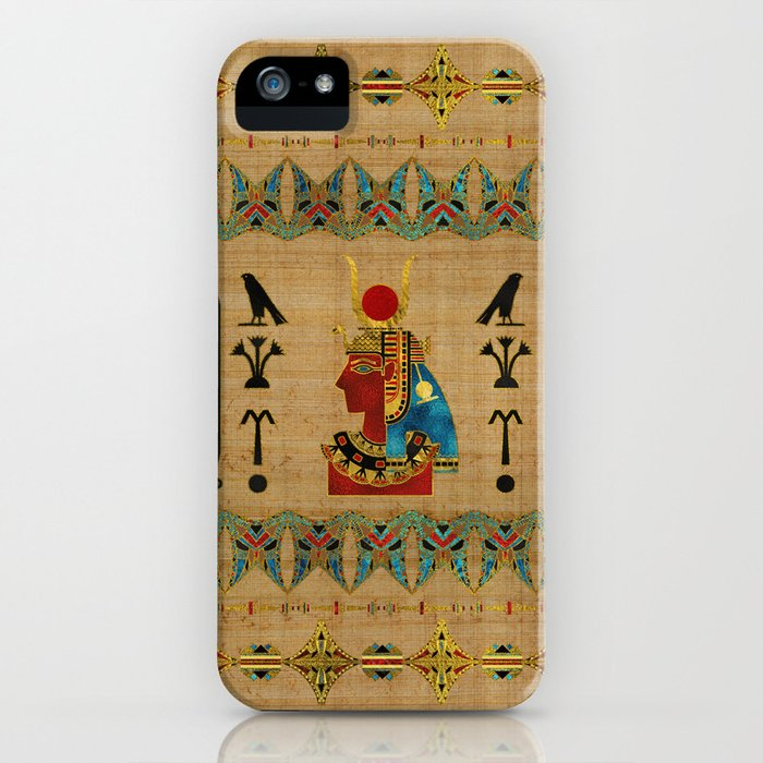 Hathor Egyptian Ornament on papyrus iPhone Case