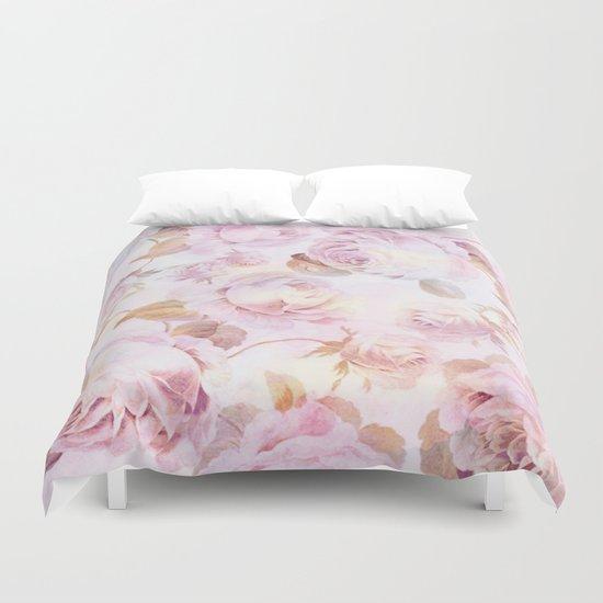 delicate pink roses Duvet Cover