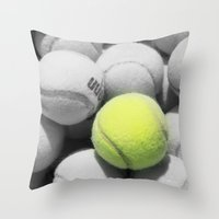 tennis Throw Pillows featuring TENNIS. by TMCdesigns