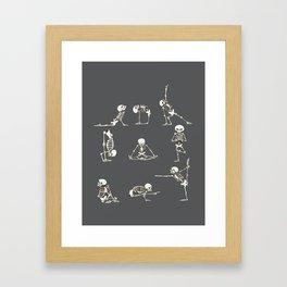 Skeleton Yoga_Gray Framed Art Print