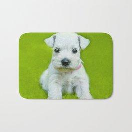White Schnauzer Puppy Bath Mat
