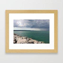 Meaford Harbor Deep Aqua Blue by Ron Brick Framed Art Print