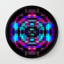 geometric square pixel abstract in orange blue pink with black background Wall Clock