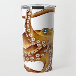 Brown Octopus Tentacles Dance Watercolor Travel Mug