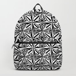black and white symetric patterns 17- bw, mandala,geometric,rosace,harmony,star,symmetry Backpack