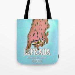 Lefkada Greek Vintage map travel poster. Tote Bag