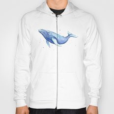 Humpback Whale Watercolor Animal Painting Nursery Animals Hoody
