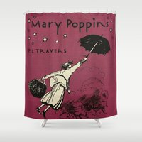 mary poppins Shower Curtains featuring Mary Poppins by MW. [by Mathius Wilder]