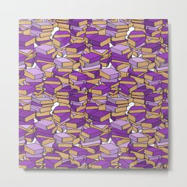 Book Collection in Purple Metal Print