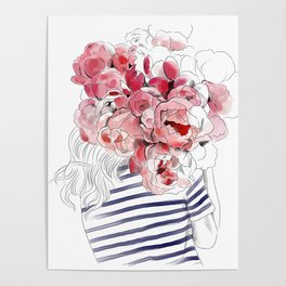Back from the flower market - Peonies bouquet illustration Poster