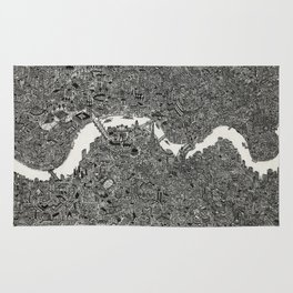 London map drawing ink pen Rug