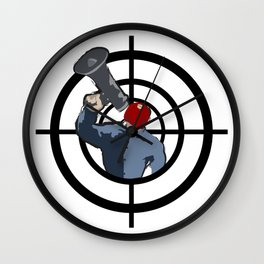Man in red mask evil criminal Wall Clock