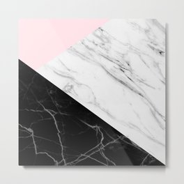 pink black and white geometric marble Metal Print