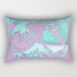 Great Wave Off Kanagawa Mount Fuji Eruption with Gradient Rectangular Pillow