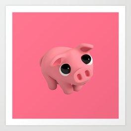 Rosa the Pig is Shy Art Print