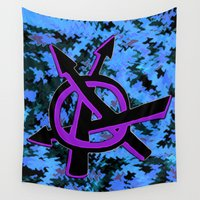 anarchy Wall Tapestries featuring Mindgoop chaotic anarchy by Mindgoop