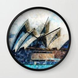 Sydney Opera, Watercolor Wall Clock
