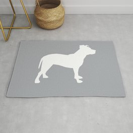 Pitbull silhouette grey and white minimal modern dog breed art pillow square Rug