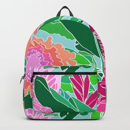 Bird of Paradise + Ginger Tropical Floral in Blue Backpack