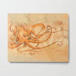 Octopus Drinking Tea Metal Print