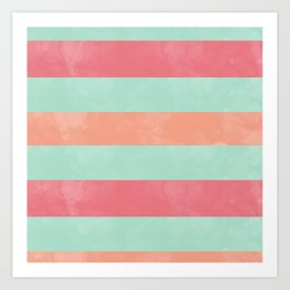 Oui Oui Mon Cheri Throw Pillow with Mint and Pink Stripes Art Print