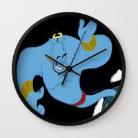 robin williams Wall Clocks featuring Genie (tribute to Robin Williams) by ItalianRicanArt