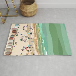 Geometric Brighton Beach bathing boxes, Melbourne, Australia Rug